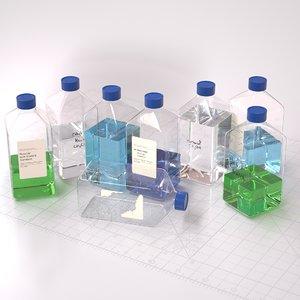 3D glass bottle laboratory model