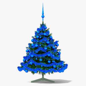 christmas tree blue 3D