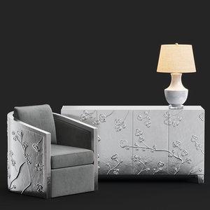 bernhardt sasha chair fleur 3D model