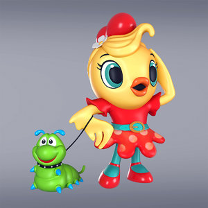 cartoon girl chiken worm 3D model