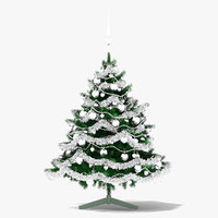 3D model christmas tree silver