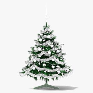 3D model christmas tree silver