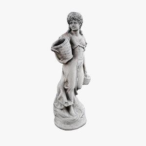sculpture woman basket 3D model