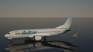 3D model flydubai boeing 737 8