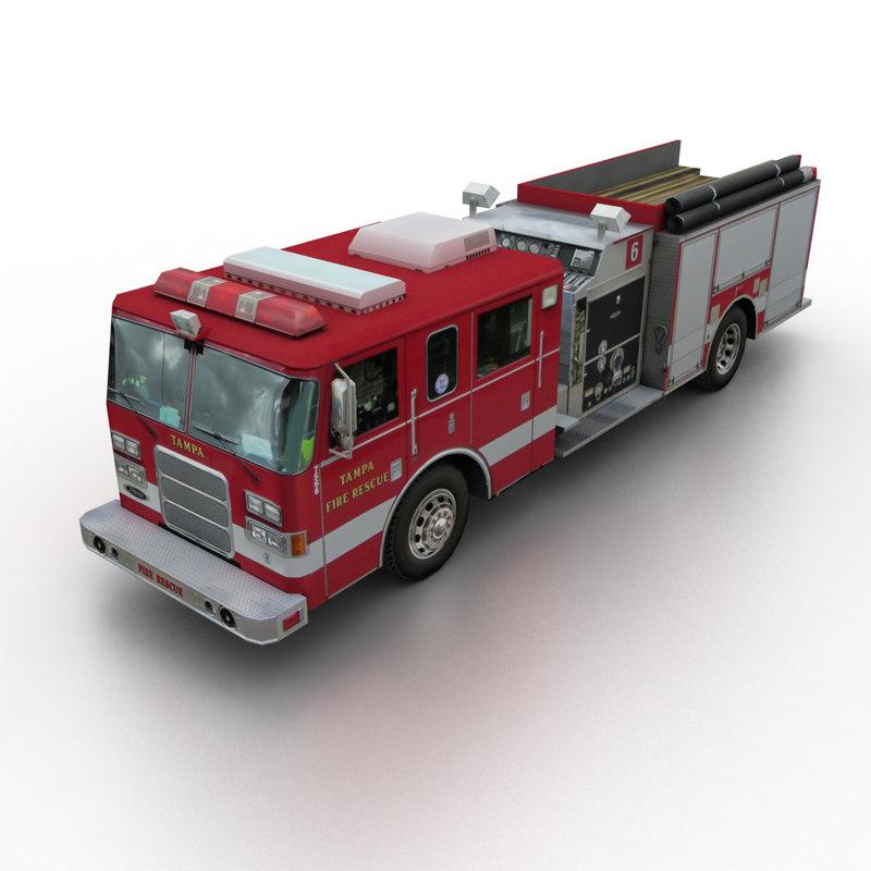 3d model pierce rescue truck