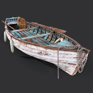 old wooden boat 3D