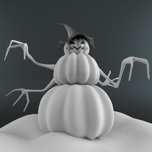 3D snowman pumpkin model