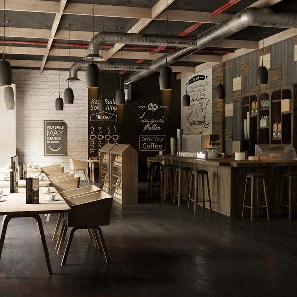 3D model coffee interior design bar restaurant