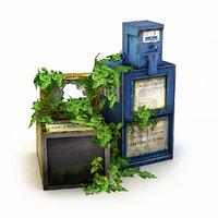 overgrown newspaper dispenser 3D
