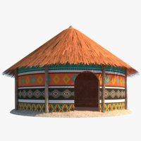 3D african hut model