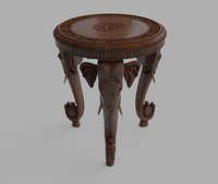 3D indian carved table elephant model