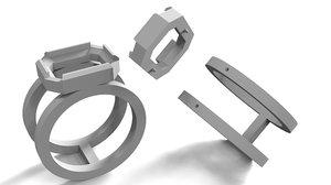 3D men ring stone printing model