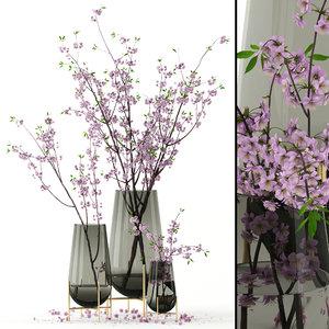 realistic cherry vases blossom 3D model