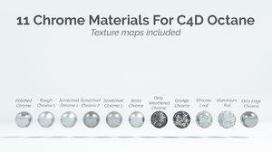 3D 11 chrome materials octane