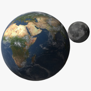 3D earth moon planet