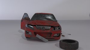 3D wrecked car model