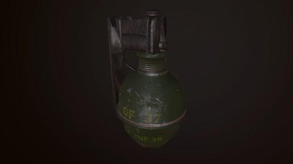 3D france hand grenade