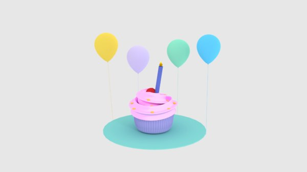 3D model cupcake cake birthday