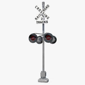 3D railroad crossing ahead sign