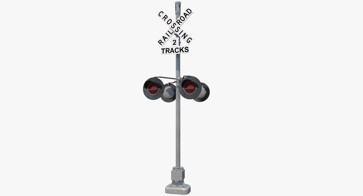Railroad Crossing Ahead Sign and Signal 3D Model