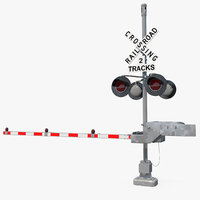 3D model railroad crossing gate road barrier