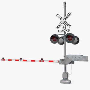3D model railroad crossing gate road barrier