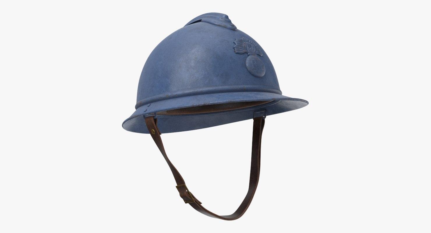 3D french m15 adrian helmet