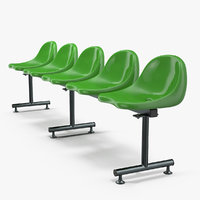 Plastic Chairs Row of 5 Seater 3D Model