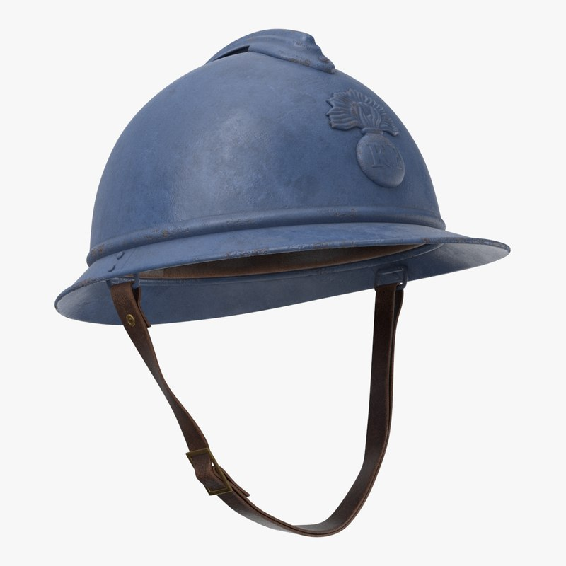 3D french m15 adrian helmet