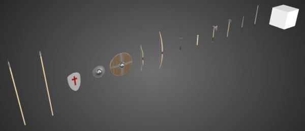 3D set medieval weapons bow model