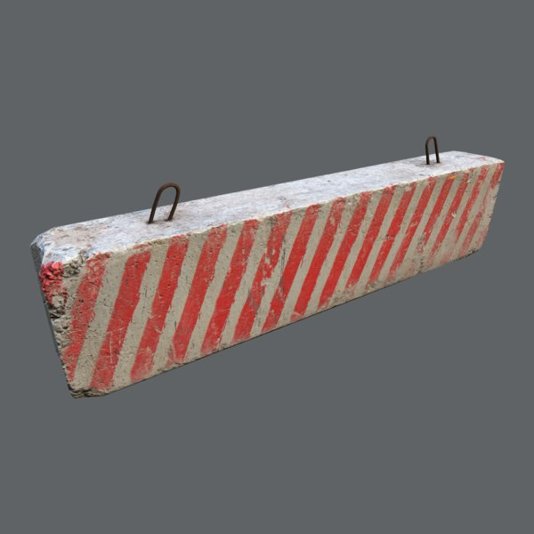 concrete roadblock barrier 3D model
