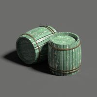 3D model wood barrel set