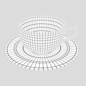 3D model coffeecup coffeeplate