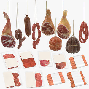 3D packaged hanging meats sausages