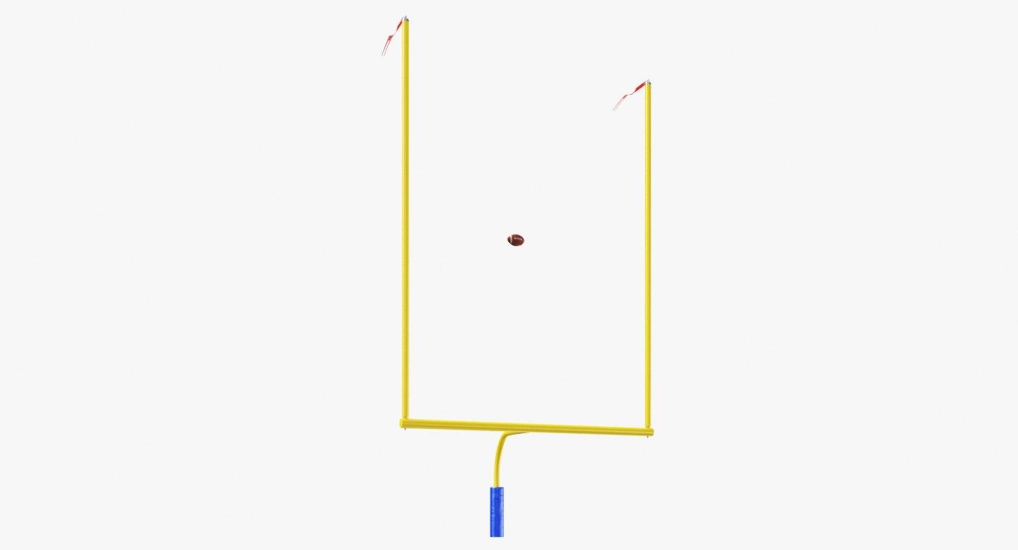 3D model american football posts ball
