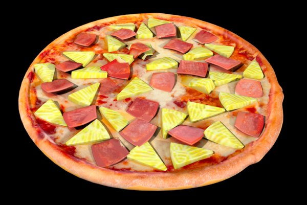 3D model pizza hawaiian pineapple