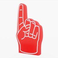 3D red foam hand