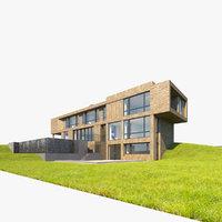 modern walls grass 3D model