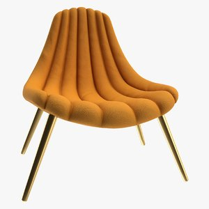 realistic brigitte navy lounge chair 3D