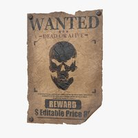 wanted poster v2 editable 3D model