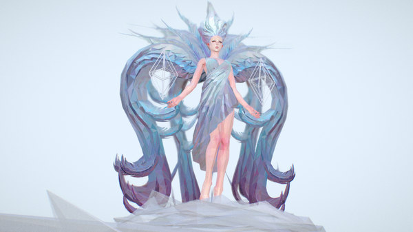 3D white angel art model