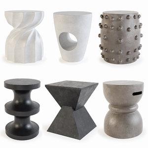 3D set stool concrete model