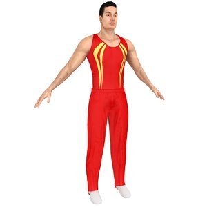 3D gymnast athletics people model