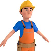 3D cartoon worker man model