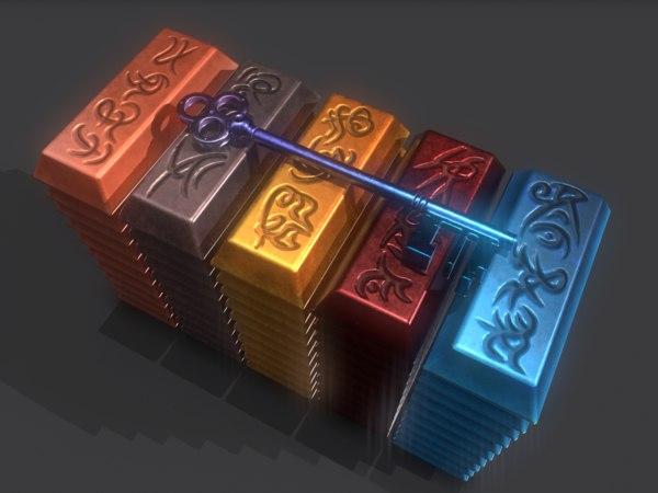 ingot key copper 3D
