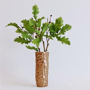 green oak branches vase 3D model