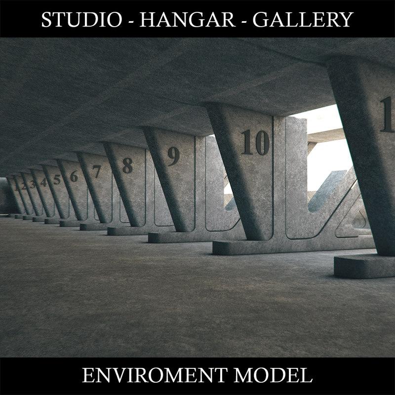 3D hangar environment gallery