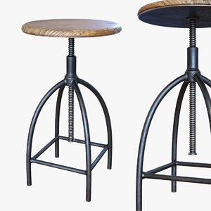 workshop bar stool wood 3D