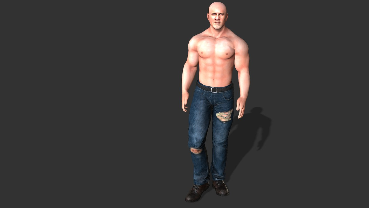 3D model male body - rigged character