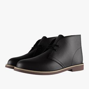 3D leather chukka boots black